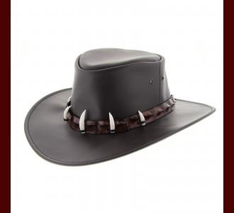 Leather Hat - Crocodile Hat Band/ 5 Croc Teeth