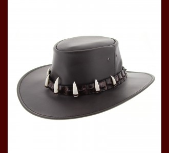 Leather Hat - Crocodile Hatband/ 7 Croc Teeth